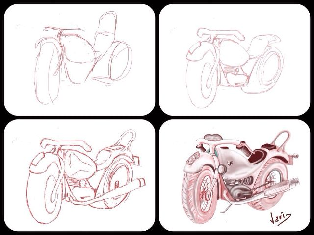 how to draw a bike step by step