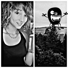 black & white collage hdr monsters selfie