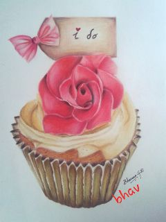 colorful pencil art drawing cupcake cute