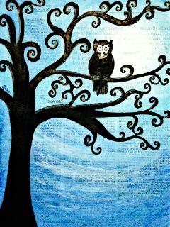 moonlight silhouette newspaper art painting