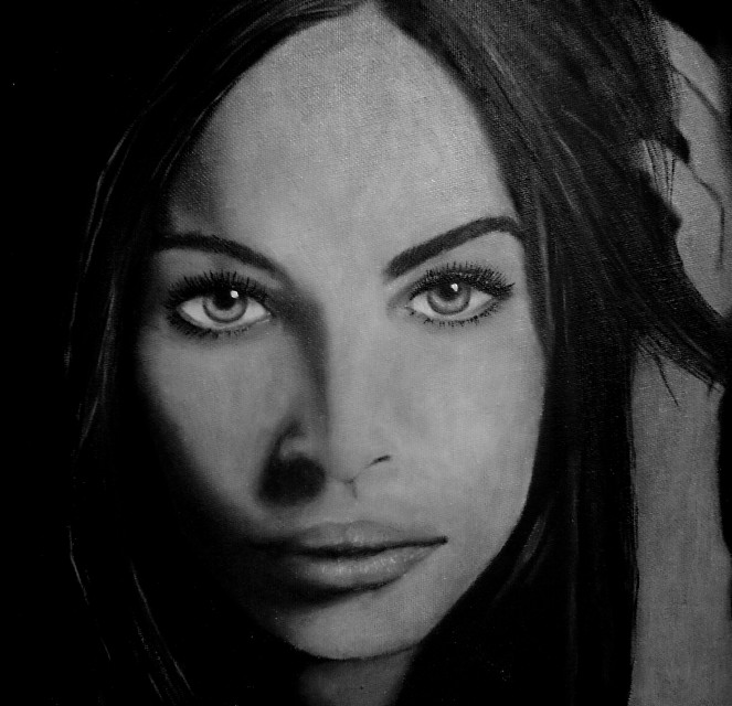 my oil painting on board portrait from photo of Megan Fox...