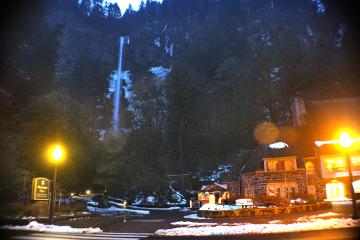 winter lights snow waterfall building