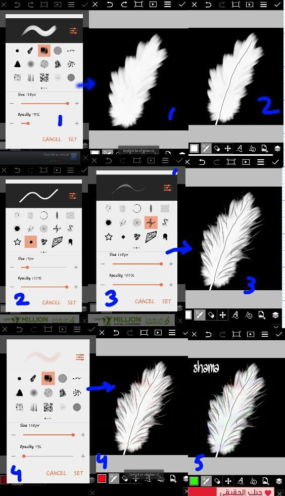 feather drawing steps